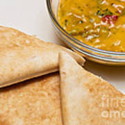 Pita Bread With Brocoli Cheese Dip Print by Andee Design