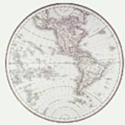 Planispheric Map Of The Western Hemisphere Print by Fototeca Storica Nazionale
