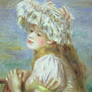 Portrait Of A Young Woman In A Lace Hat Print by Pierre Auguste  Renoir