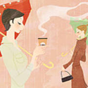 Portrait Of Young Woman In The Rain Holding Umbrella And A Takeaway Coffee Print by Eastnine Inc.