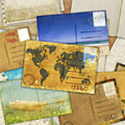 Postcard And Old Papers Print by Setsiri Silapasuwanchai