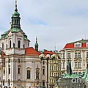Prague - St Nicholas Church Old Town Square Print by Christine Till