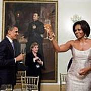 President And Michelle Obama Toast Print by Everett