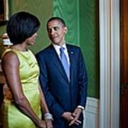 President And Michelle Obama Wait Print by Everett