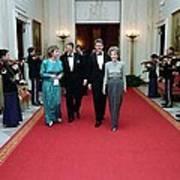 President And Nancy Reagan Walking Print by Everett