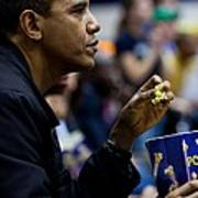 President Barack Obama Eats Popcorn Print by Everett