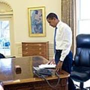 President Barack Obama On His First Print by Everett