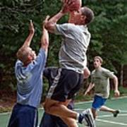 President Barack Obama Plays Basketball Print by Everett