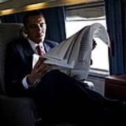 President Barack Obama Reading Print by Everett