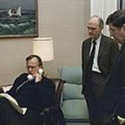 President George Bush In A Telephone Print by Everett
