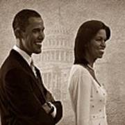 President Obama And First Lady S Print by David Dehner