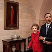 President Obama And Former First Lady Print by Everett