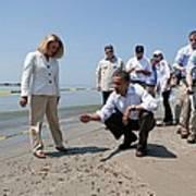 President Obama Inspects A Tar Ball Print by Everett