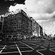 Princes Street And St David Street South With Tram Lines And Old Waverly Hotel Edinburgh Scotland Uk Print by Joe Fox