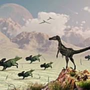 Protoceratops Stampede In Fear Print by Mark Stevenson