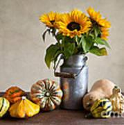 Pumpkins And Sunflowers Print by Nailia Schwarz
