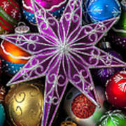 Purple Christmas Star Print by Garry Gay