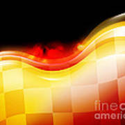 Race Car Speed Flames Background Print by Angela Waye