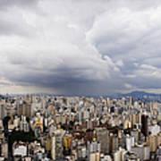 Rain Shower Approaching Downtown Sao Paulo Print by Jeremy Woodhouse