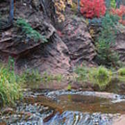 Rainbow Of The Season And River Over Rocks Print by Heather Kirk