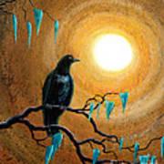 Raven In Dark Autumn Print by Laura Iverson
