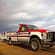 Red And White Harbor Patrol Vehicle Print by David Buffington
