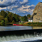 Red Canoes At The Boathouse Print by Paul Ward
