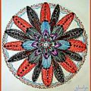 Red Flower Mandala  Print by Gladys Childers