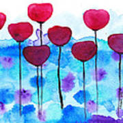Red Flowers Watercolor Painting Print by Karen Pappert