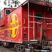 Red Sante Fe Caboose Train . 7d10332 Print by Wingsdomain Art and Photography