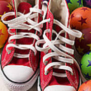 Red Tennis Shoes And Balls Print by Garry Gay