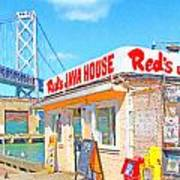 Reds Java House And The Bay Bridge At San Francisco Embarcadero Print by Wingsdomain Art and Photography
