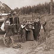 Reenactment Of A Stage Coach Robbery Print by Everett