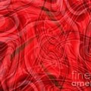 Ribbons Of Red Abstract Print by Carol Groenen