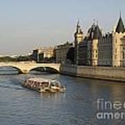 River Seine And Conciergerie. Paris Print by Bernard Jaubert