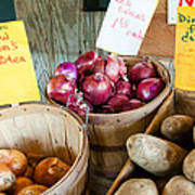 Roadside Produce Stand Onions And Potatoes Print by Denise Lett