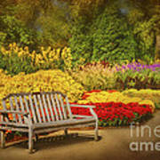 Romantic Flower Garden  Print by Cheryl Davis