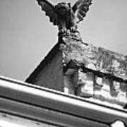 Rooftop Gargoyle Statue Above French Quarter New Orleans Black And White Diffuse Glow Digital Art Print by Shawn O'Brien