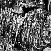 Rows Of Metal Shisha Pipe Arabic Tobacco Smoking Water Pipes On A Stall In The Market In Nabeul  Print by Joe Fox