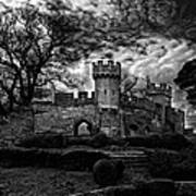 Ruins Of Warwick In Black And White Print by Laura George