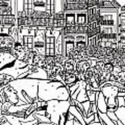 Running Of The Bulls 3 Print by Karen Elzinga