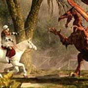 Saint George And The Dragon Print by Daniel Eskridge