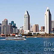 San Diego Skyline And Tour Boat Print by Paul Velgos
