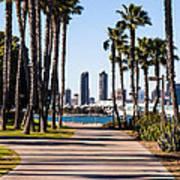 San Diego Skyline With Coronado Island Bayshore Bikeway Print by Paul Velgos