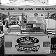 San Francisco - Stanley's Steamers Hot Dog Stand - 5d17929 - Black And White Print by Wingsdomain Art and Photography