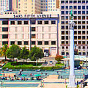 San Francisco - Union Square - 5d17938 - Square - Painterly Print by Wingsdomain Art and Photography