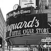 San Francisco Marquard's Little Cigar Store Powell And O'farrell Streets - 5d17954 - Black And White Print by Wingsdomain Art and Photography
