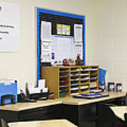School Teachers Desk Print by Skip Nall