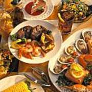 Seafood And Steak Buffet Dinners Print by Vance Fox