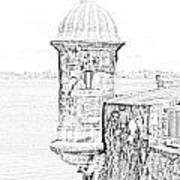 Sentry Tower Castillo San Felipe Del Morro Fortress San Juan Puerto Rico Line Art Black And White Print by Shawn O'Brien